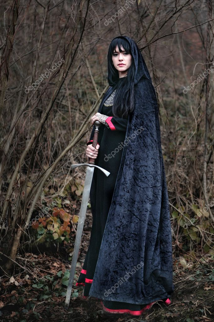 Medieval lady with sword