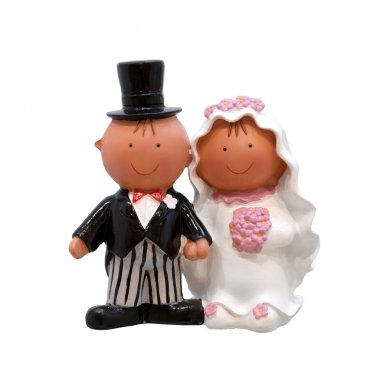 A wedding couple - figurines for wedding cake, isolated on white
