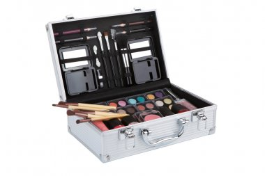 Aluminum make up case with makeup brushes