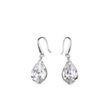 Pair of diamond earrings, isolated on white