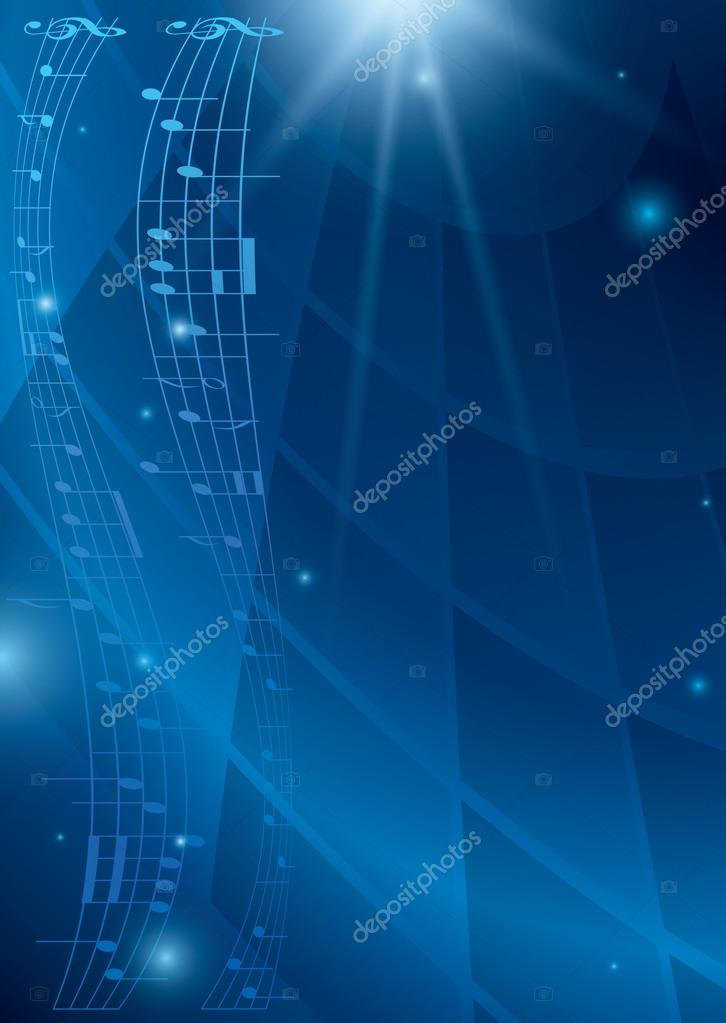 Abstract vertical music background - blue vector flyer