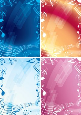 Abstract music backgrounds - set of vector frames