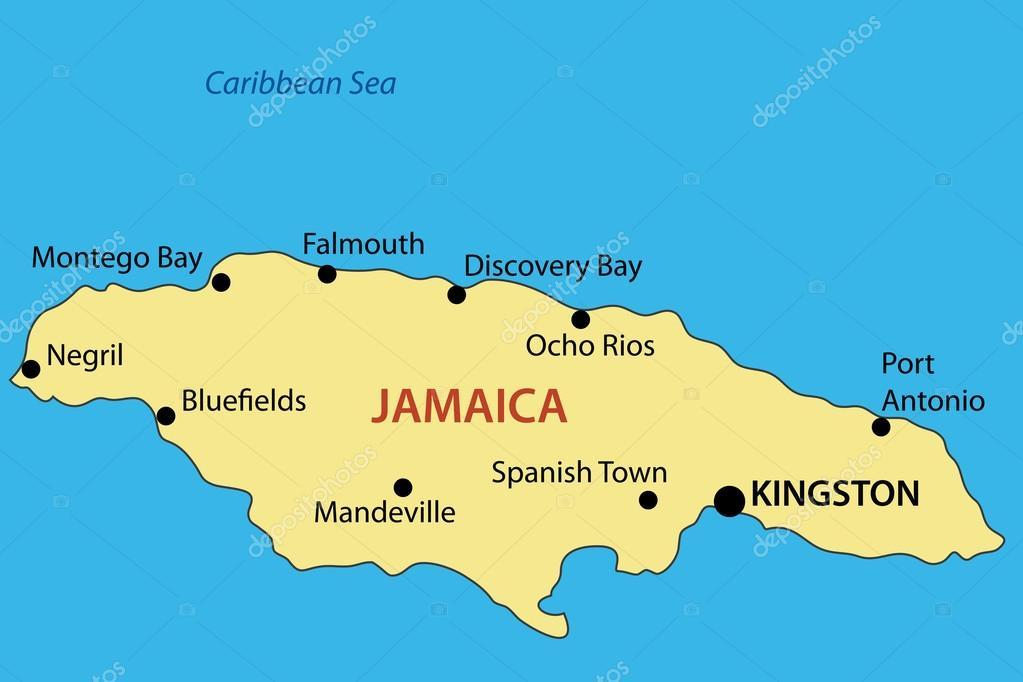 jamaica mapa Mancomunidad de jamaica   mapa del vector — Archivo Imágenes  jamaica mapa