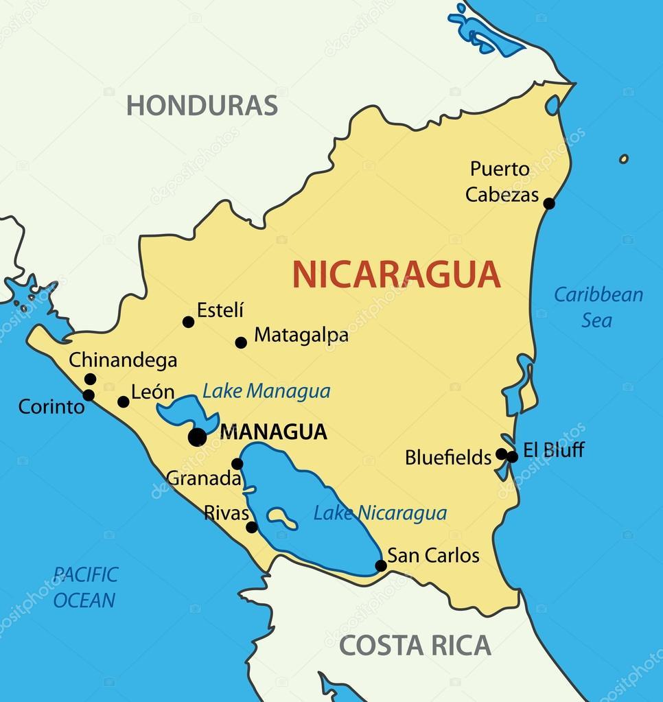nicaragua mapa República de nicaragua   mapa del vector — Archivo Imágenes  nicaragua mapa