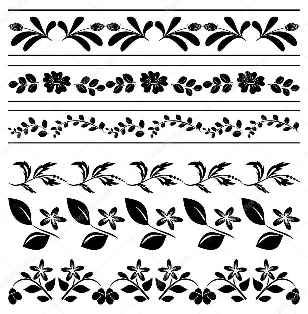 Floral vector borders - black tracery