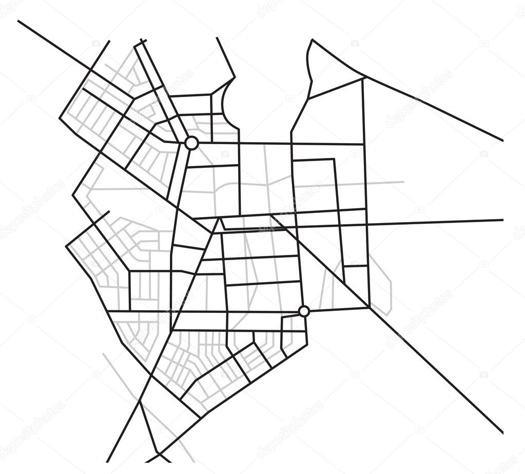 City map - vector scheme of roads
