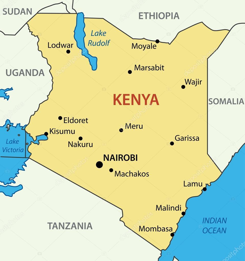 quenia mapa República do Quênia   mapa do vetor — Vetor de Stock © pavalena  quenia mapa