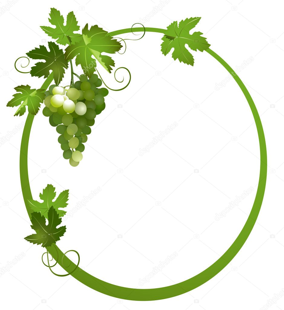 Oval frame with a bunch of grapes - vector