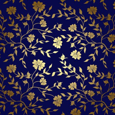 Blue and gold floral texture for background - vector
