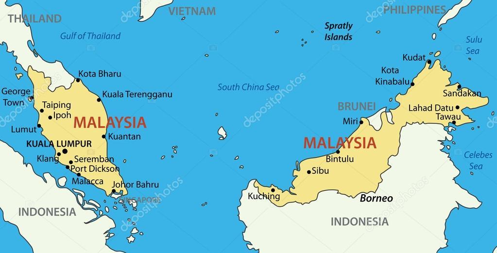 karta malaysia Malaysia   vektor karta — Stock Vektor © pavalena #14230955 karta malaysia
