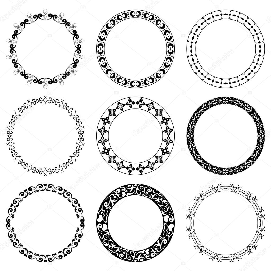 round decorative frames - vector set