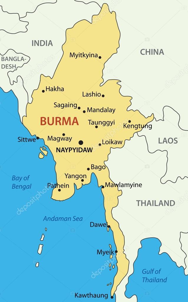 Carte Birmanie A Telecharger.Birmanie Carte Vectorielle Image Vectorielle Pavalena