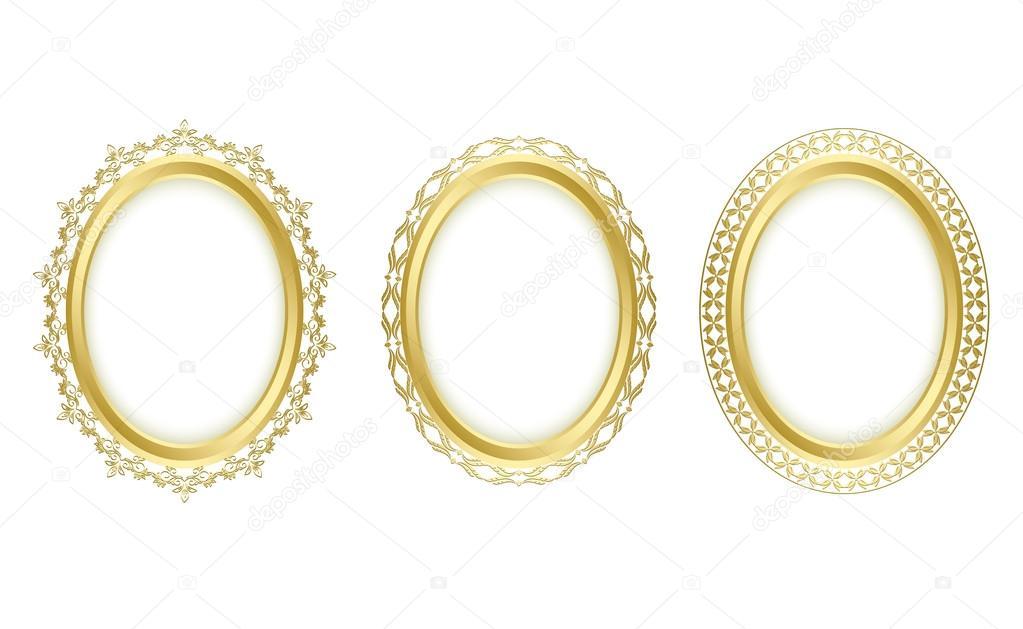 Marcos ovalados dorados - conjunto de vectores — Archivo Imágenes ...