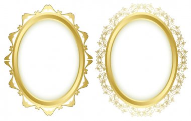 oval vector decorative frames - set