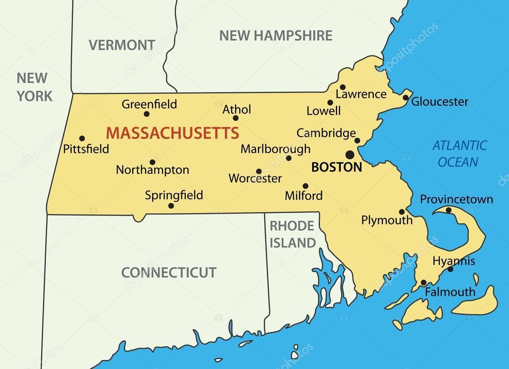 massachusetts mapa Commonwealth of Massachusetts   vector map — Stock Vector  massachusetts mapa