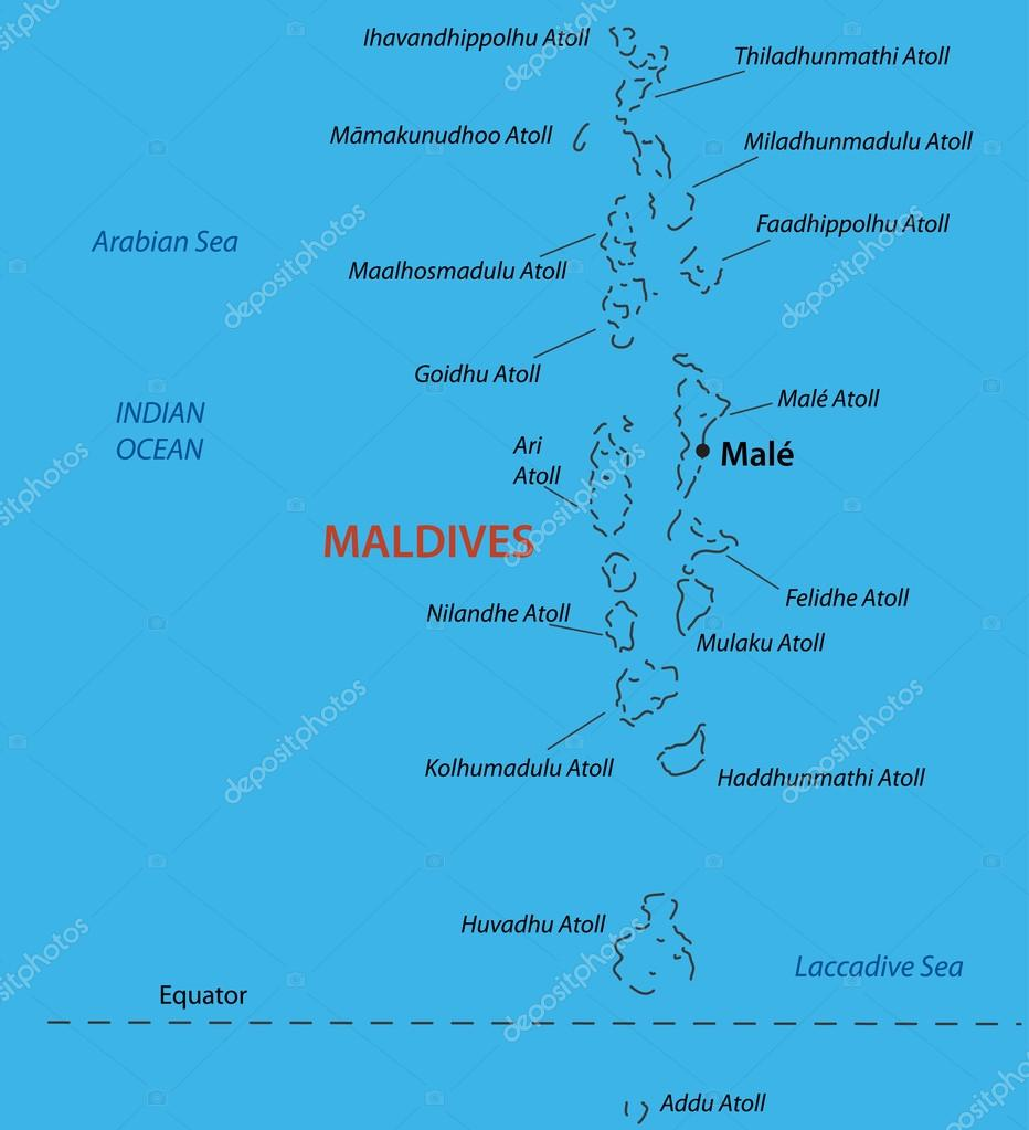 Republic of the Maldives - vector map — Stock Vector © pavalena ...