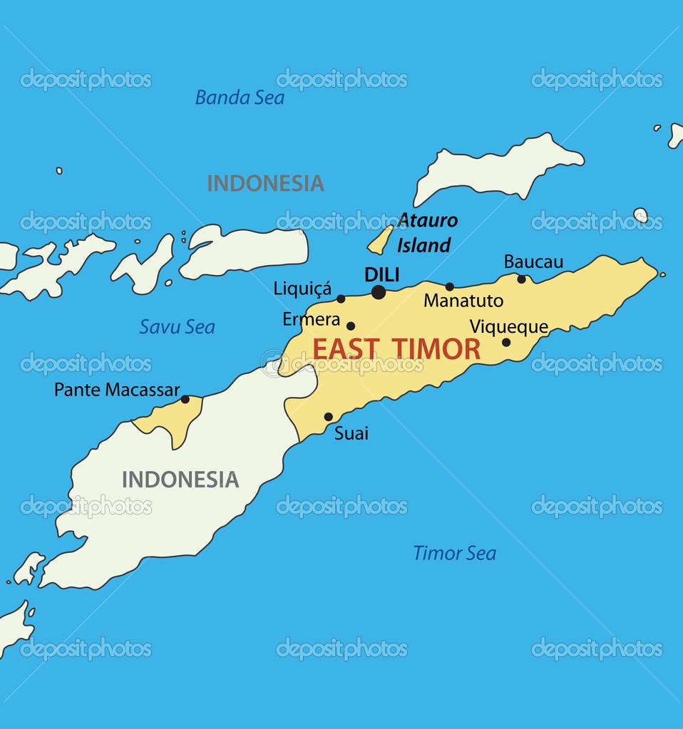 Democratic Republic Of TimorLeste East Timor Vector Map - East timor seetimor leste map vector