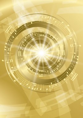 gold abstract music background - vector flyer