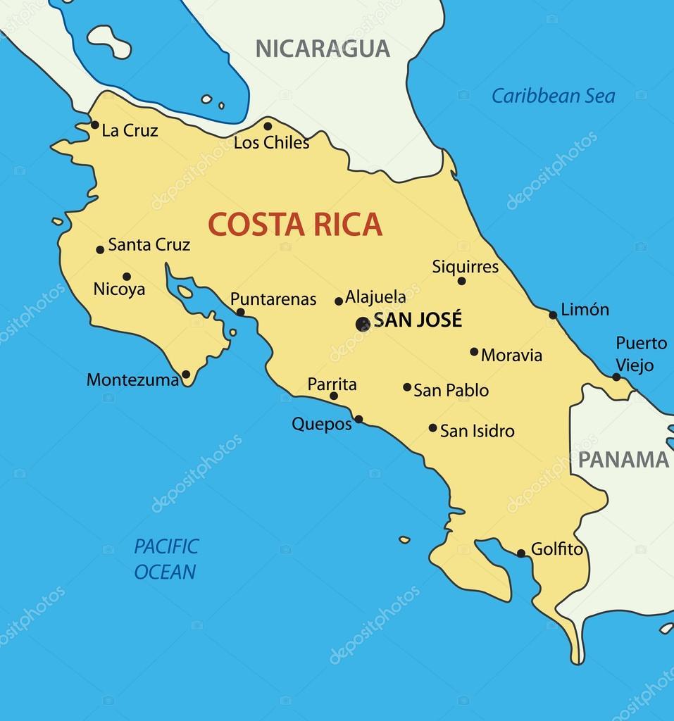 karta costa rica Republiken costa rica   vektor karta — Stock Vektor © pavalena  karta costa rica