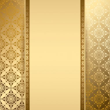 gold background with vintage pattern - vector