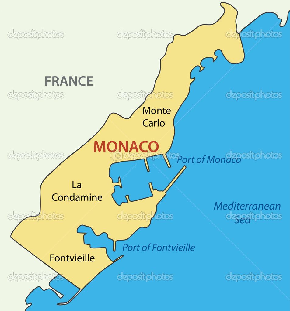 monaco mapa Principado de Mónaco   mapa del vector — Archivo Imágenes  monaco mapa