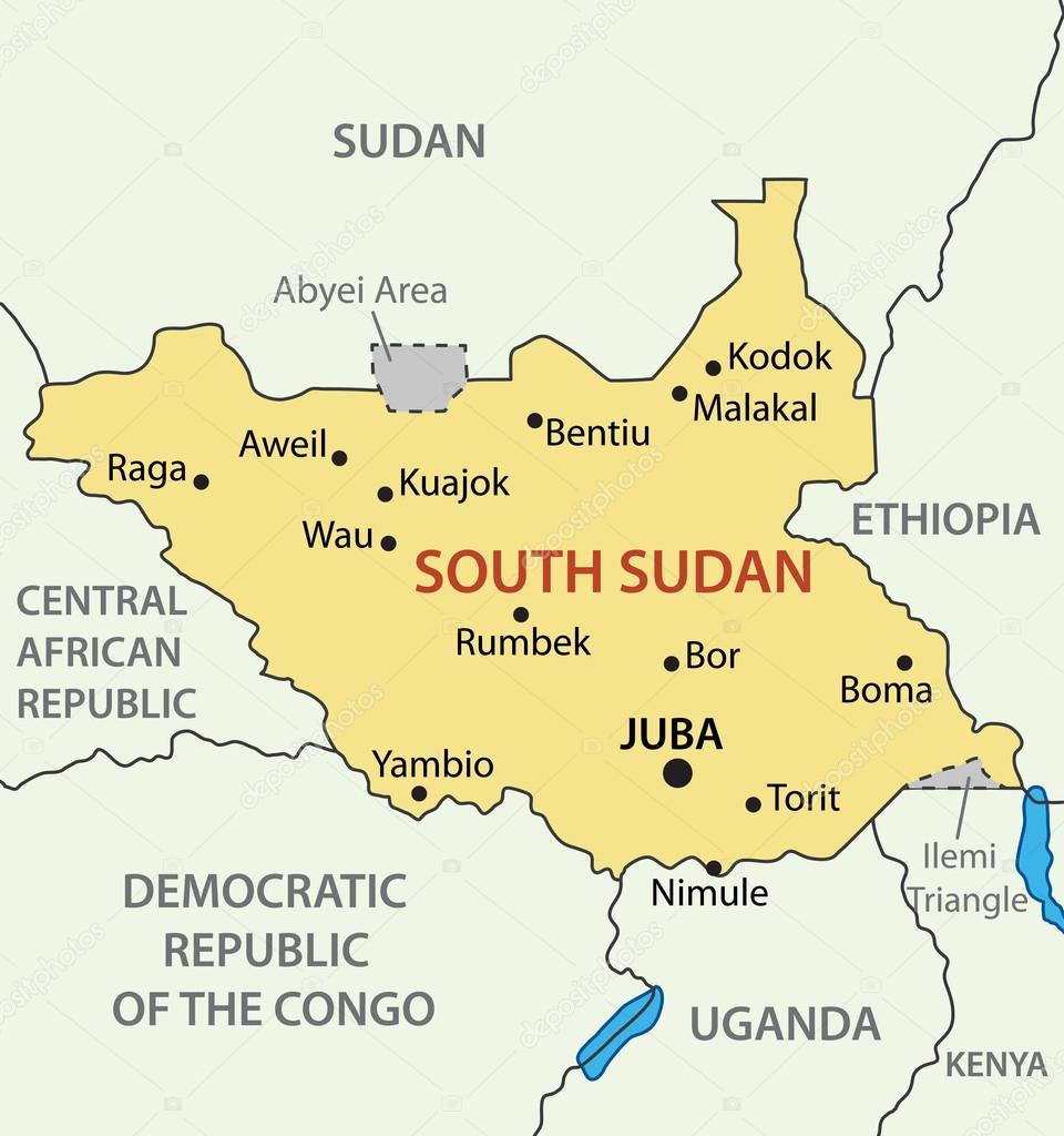 Republic Of South Sudan Vector Map Stock Vector Pavalena - Sudan map download