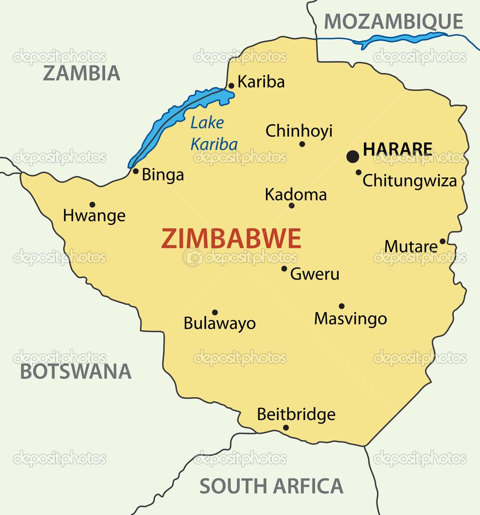 Republic Of Zimbabwe Vector Map Stock Vector Pavalena - Republic of zimbabwe map