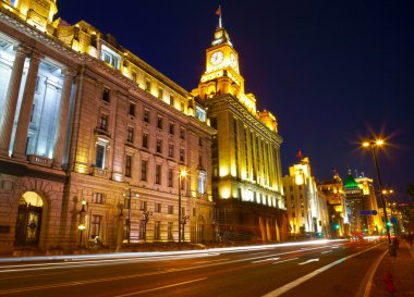 Shanghai in the night time. View from the bund