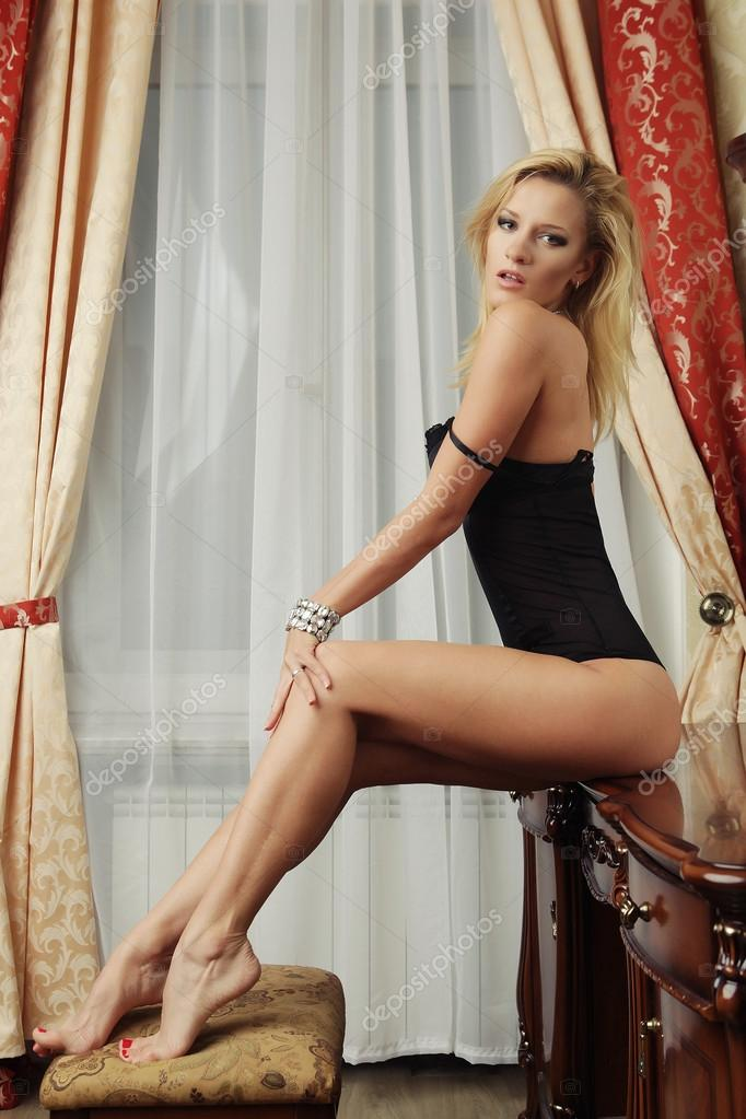 Blonde with sexy legs