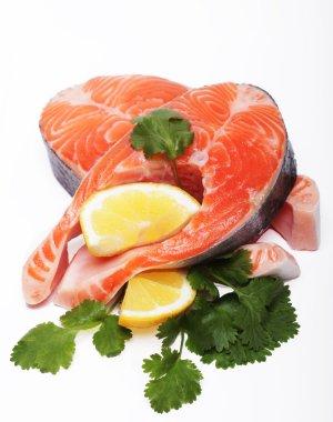 Salmon. Fresh raw salmon red fish steak.