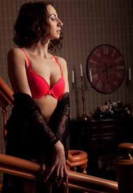 sensual woman  wearing lingerie posing on stair