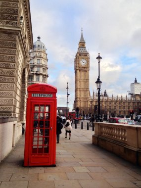 Red Telephone Booth, Big Ben and Houses of Parliament in London, UK.