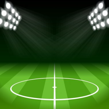 Soccer Background with Bright Spot Lights