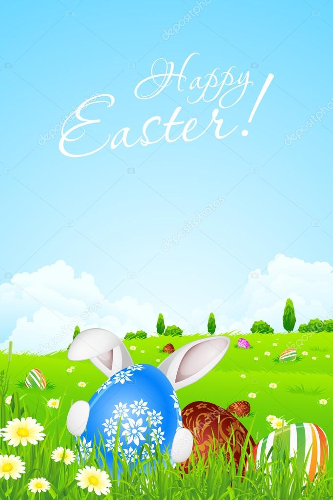 green landscape background with easter eggs stock vector wad