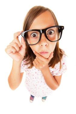Confused nerd girl