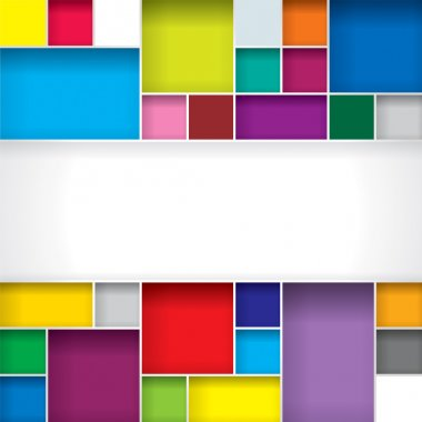 Abstract color boxes background with copy space clip art vector