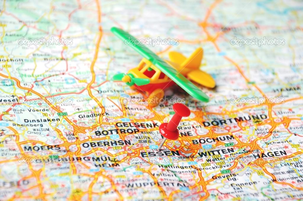 Essen Germany map airplane Stock Photo ivosar 49321113