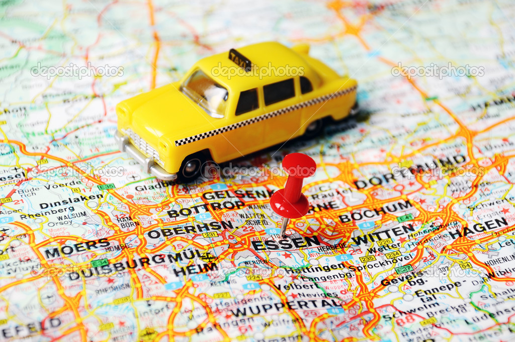 Essen Germany map taxi Stock Photo ivosar 49321121