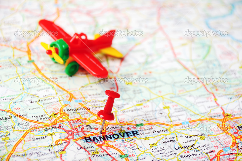 Hannover Germany map airplane Stock Photo ivosar 49321229