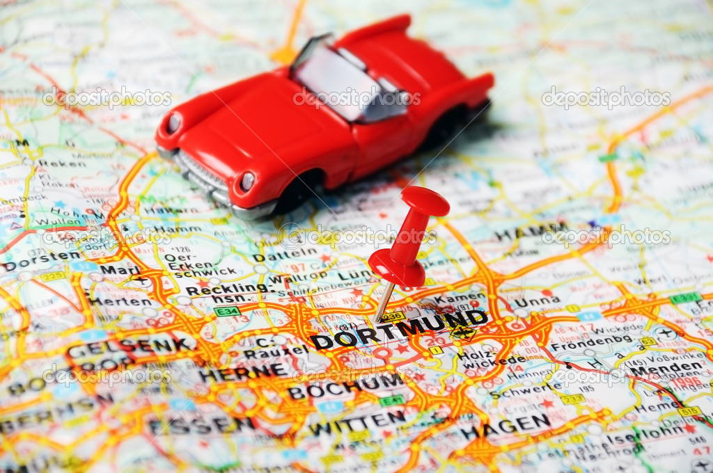 close up of dortmundgermany map with red pin and auto travel concept photo by ivosar