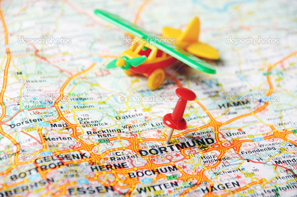 close up of dortmundgermany map with red pin and airplan travel concept photo by ivosar