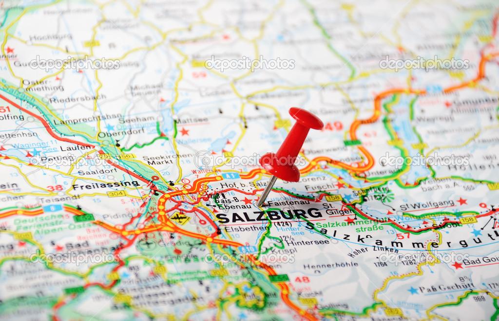 Salzburg austria map stock photo ivosar 49504375 close up of salzburg austria map with red pin travel concept photo by ivosar gumiabroncs Gallery