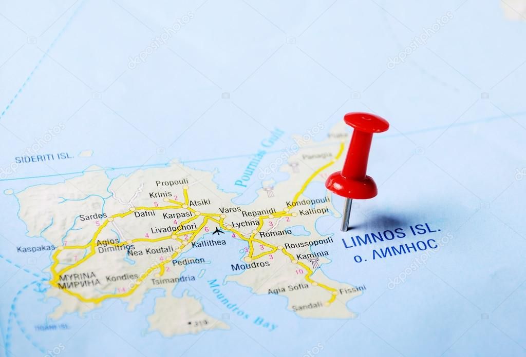 Limnos Island Greece Map Stock Photo C Ivosar 49968773