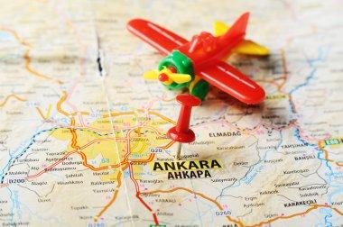 Ankara ,Turkey  map airplane