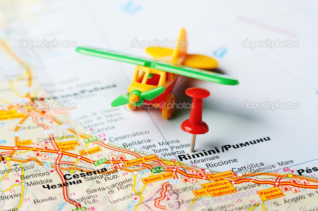 Rimini Italy Map Airplane Stock Photo C Ivosar 50183571