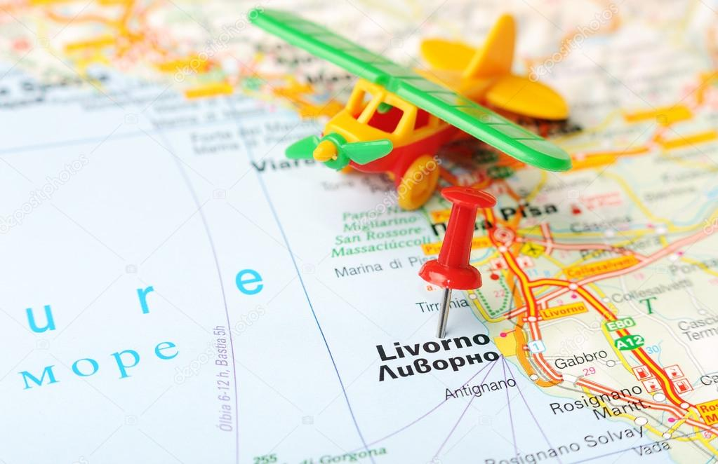 Livorno Italy map airplane Stock Photo ivosar 50324519