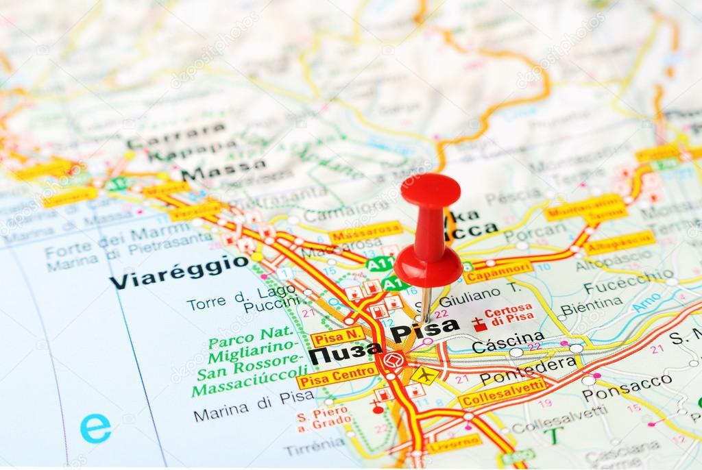 Pisa italy map stock photo ivosar 50324579 close up of pisa italy map with red pin travel concept photo by ivosar gumiabroncs Choice Image