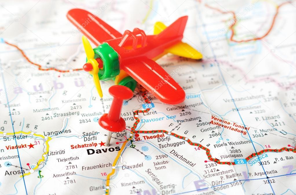 Davos, Landkarte Swiss Flugzeug — Stockfoto © ivosar #50724803
