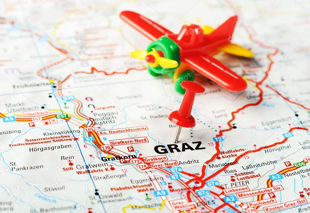 Graz Austria Map Airplane Stock Photo Ivosar - Graz austria map