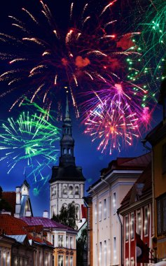 Festive fireworks over the Old city in Tallinn, Estonia.